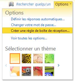 Cliquez sur 'Options' > 'Créer un règle de boîte de réception'