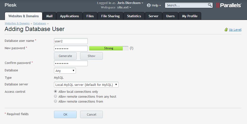 Ajouter un Nouvel Utilisateur de la Base de données