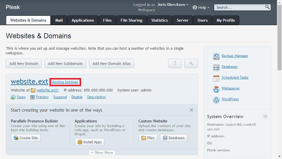 Websites & domains > Hosting Settings