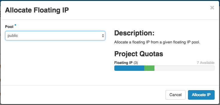 Allocate Floating IP