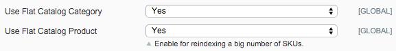« Utiliser le catalogue à plat pour les catégories » et « Utiliser le catalogue à plat pour les produits »