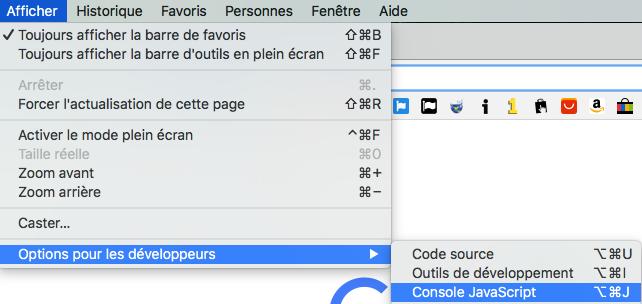 Affichage >> Développeur >> Console JavaScript