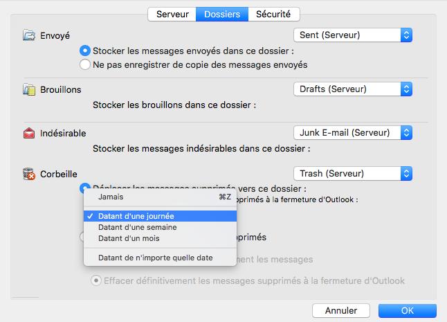 Déplacement des emails supprimés >> menu déroulant