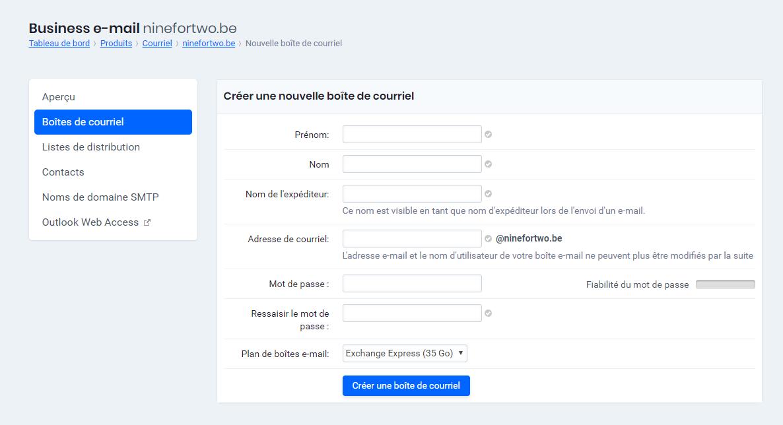 Créer une nouvelle boîte de courriel