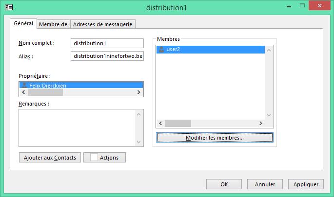 Ajouter des contacts à la liste de distribution