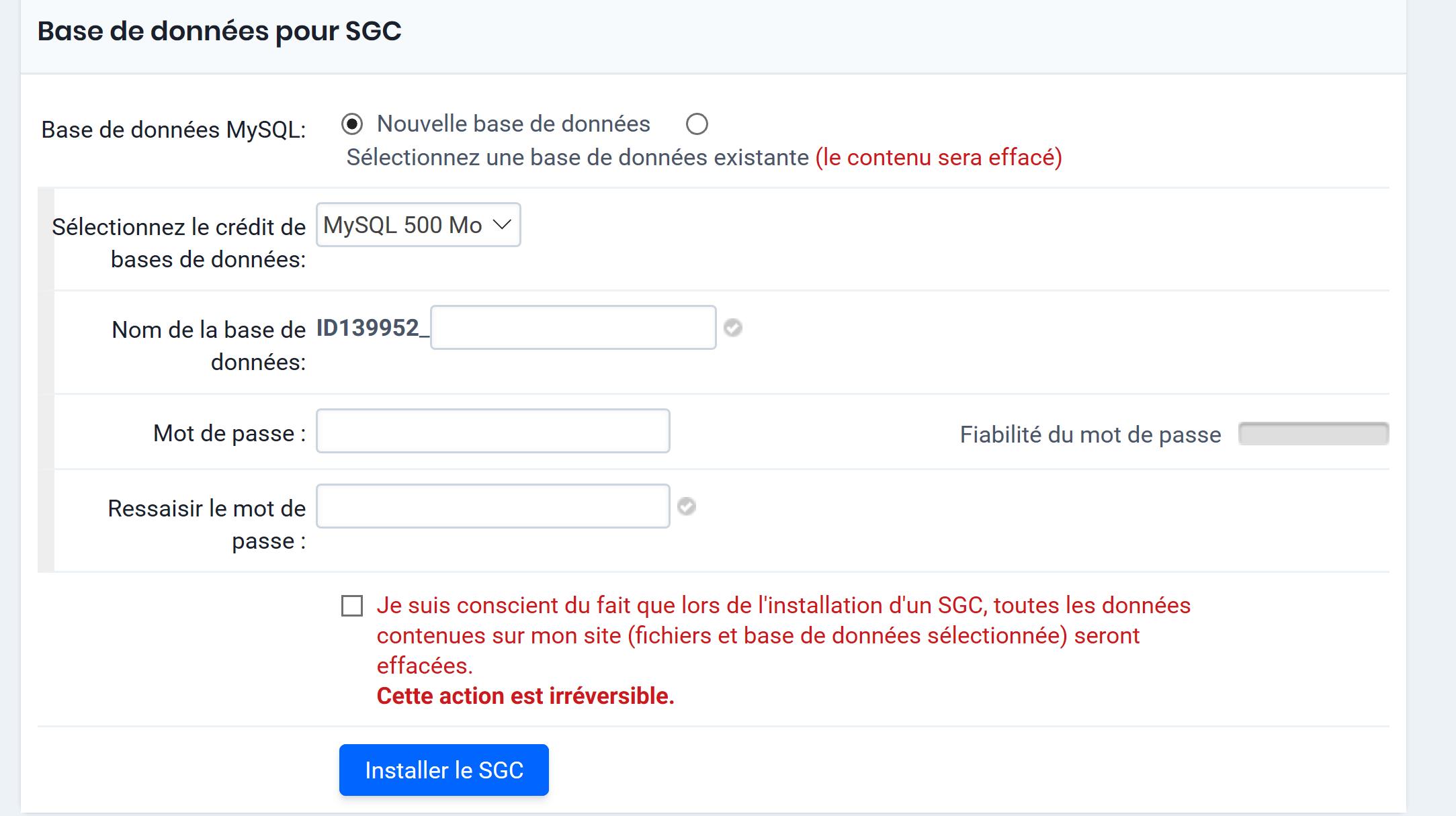 Base de données pour SGC
