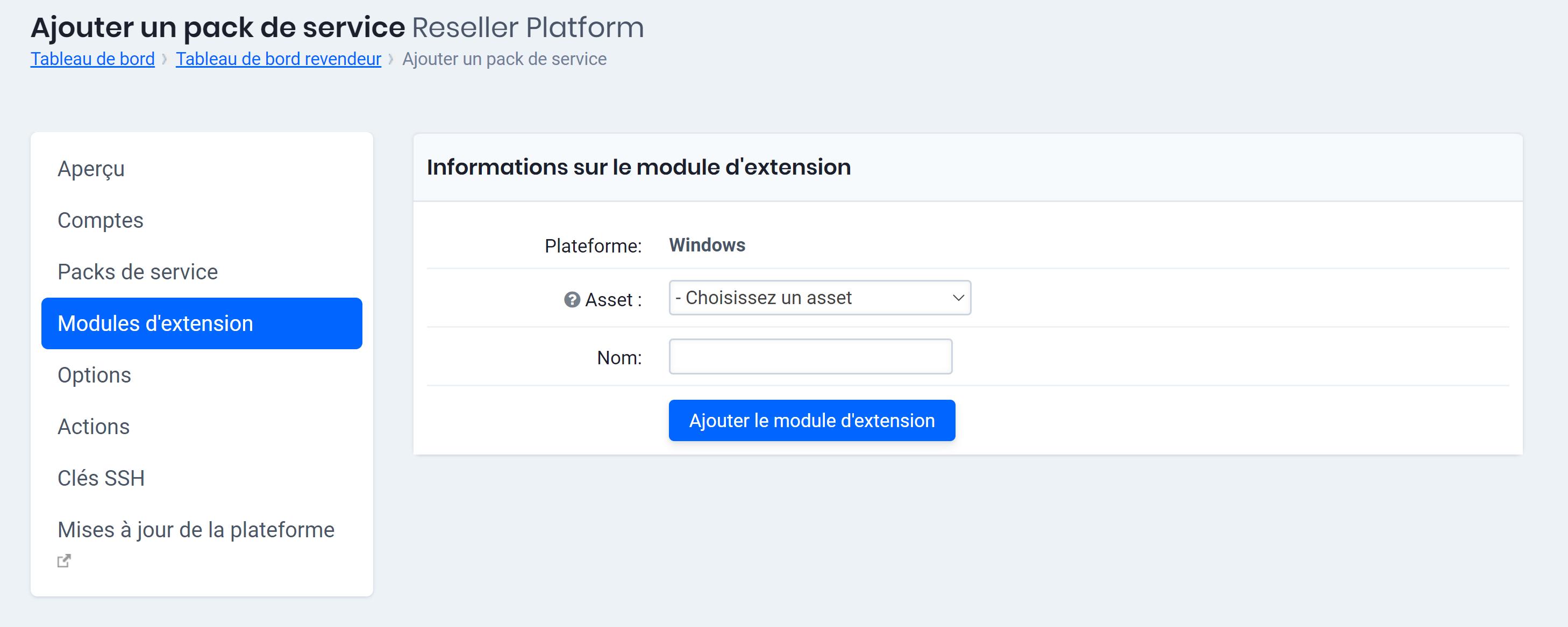 Choisissez une caractéristique (asset) pour le module d'extension