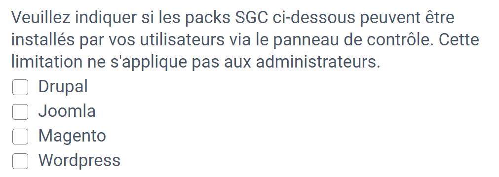 Les packs SGC