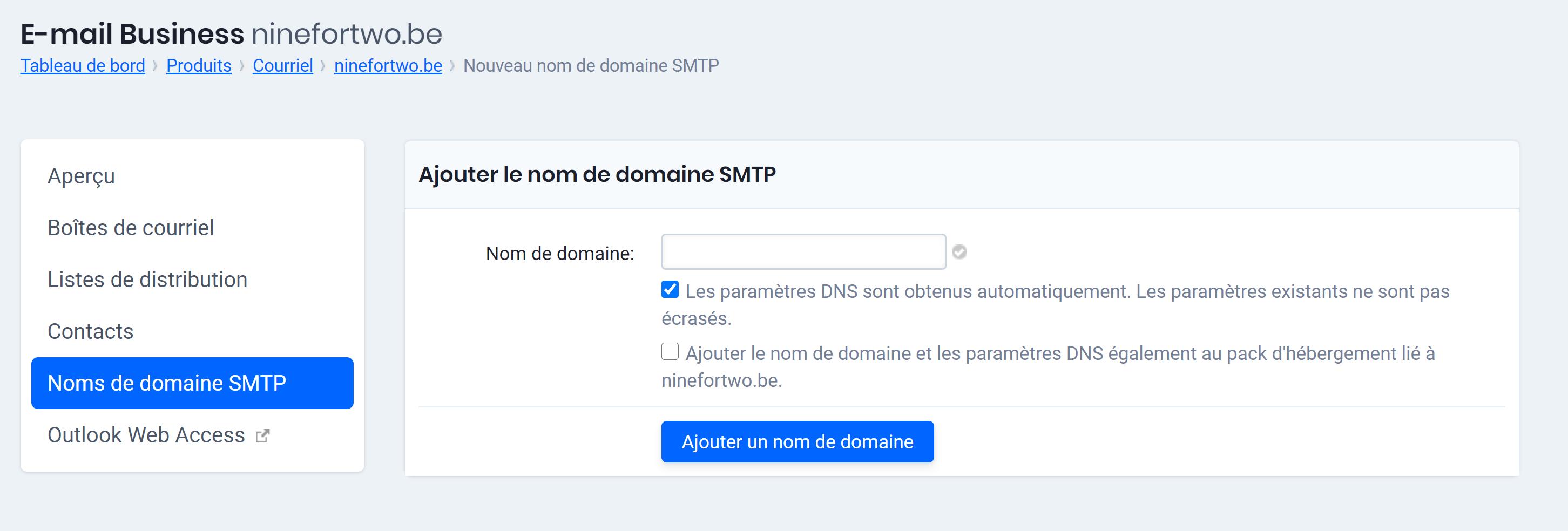 ajouter le nom de domaine SMTP Exchange