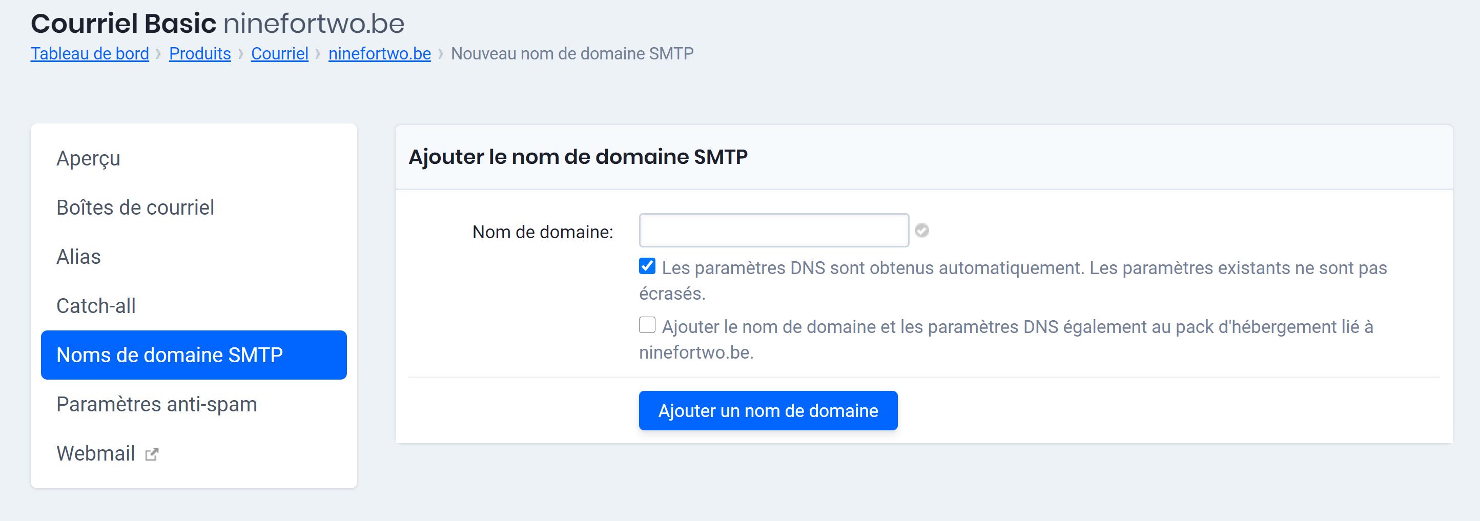 ajouter le nom de domaine SMTP