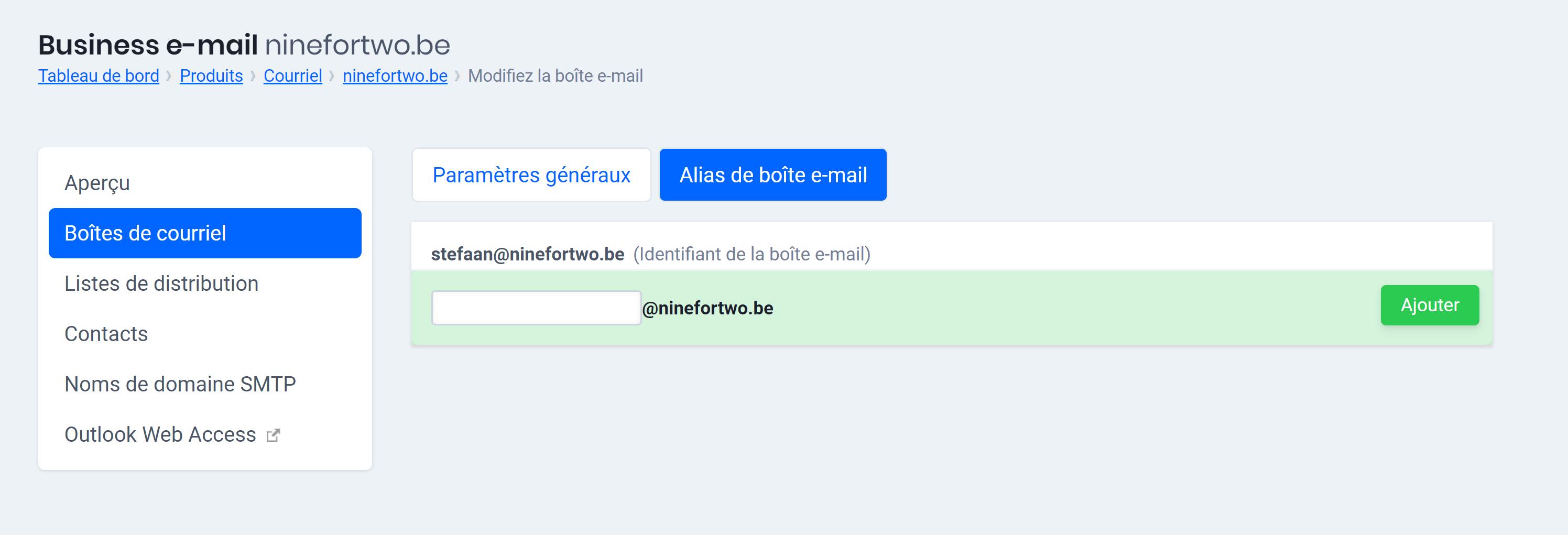 alias de boîte e-mail exchange