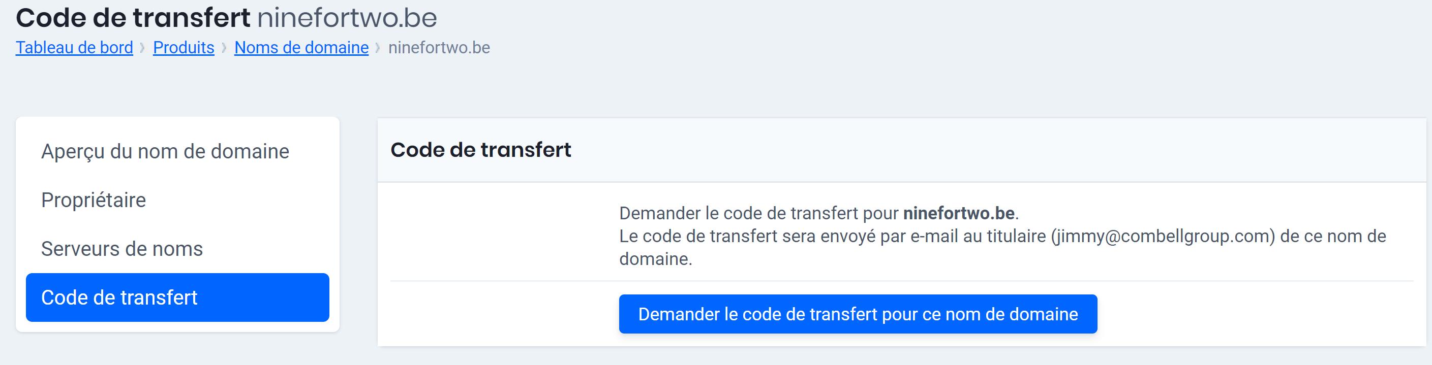code de transfert