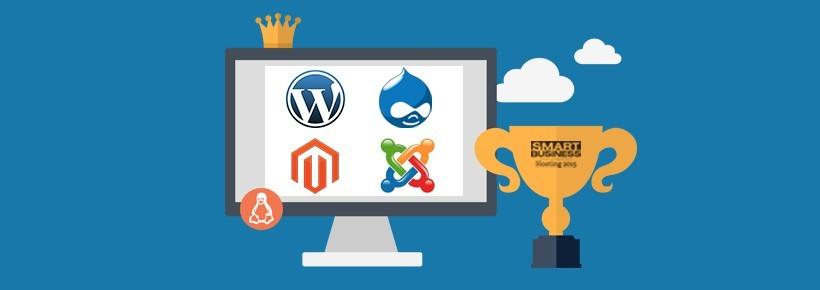 Instapklare CMS hosting geoptimaliseerd voor WordPress, Joomla, Drupal of Magento