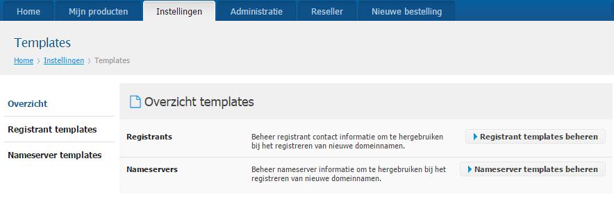 Nieuwe reseller features - nameserver templates aanmaken