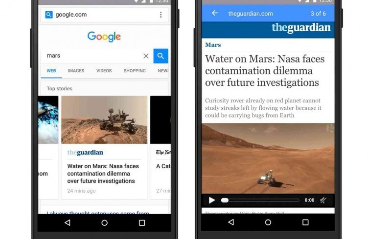 Accelerated Mobile Pages AMP carrousel van Google
