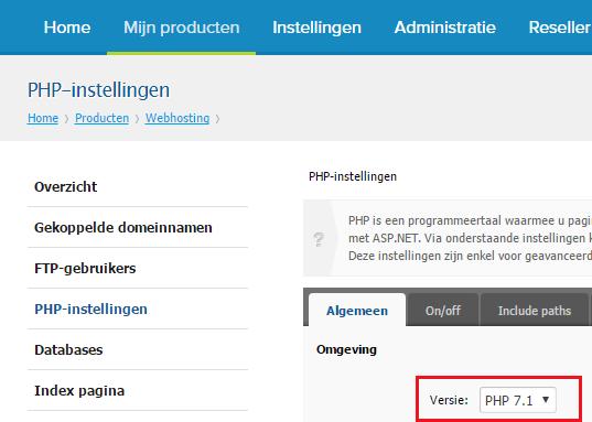 Hoe schakel je over op PHP 7.1