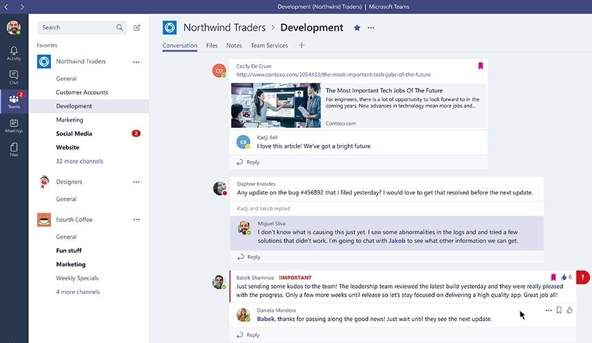 Threads in Microsoft Teams bij Office 365