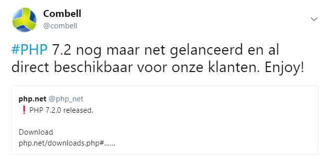 PHP 7.2 aankondiging twitter