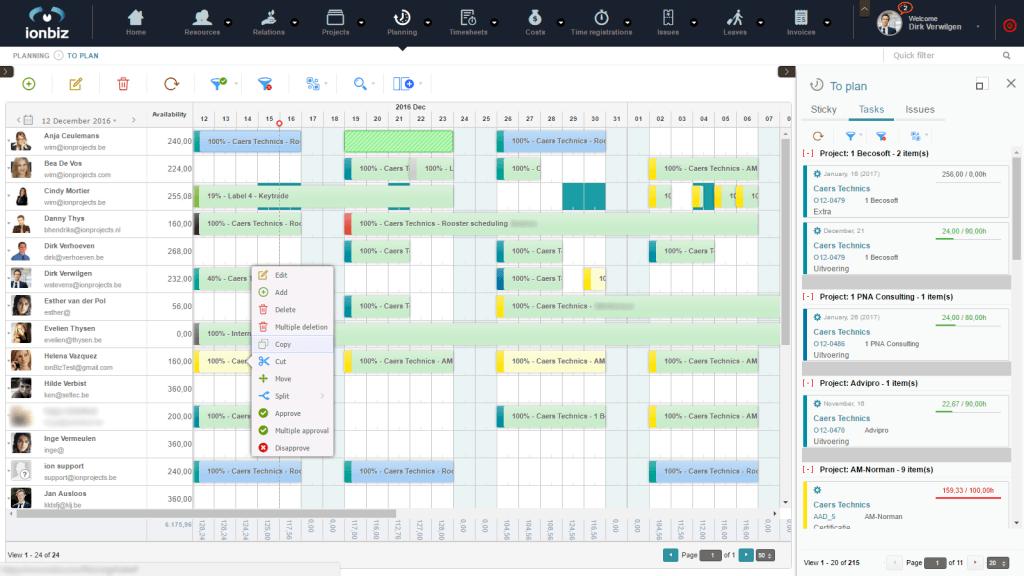 ionBIZ resource planning module