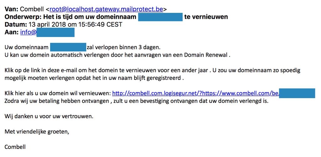 Voorbeeld phishing mail april 2018