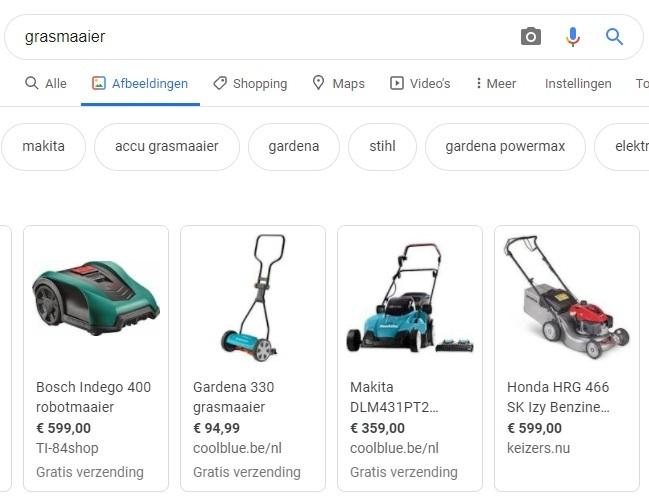 Afbeeldingen Google SEO-reultaten
