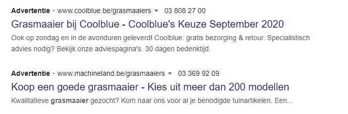 Betaalde resultaten Google advertenties