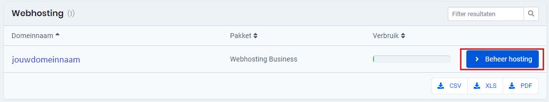 Controlepaneel webhosting beheren