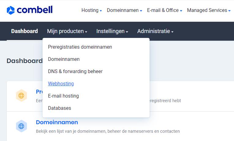 Controlepaneel webhosting voor PHP upgrade