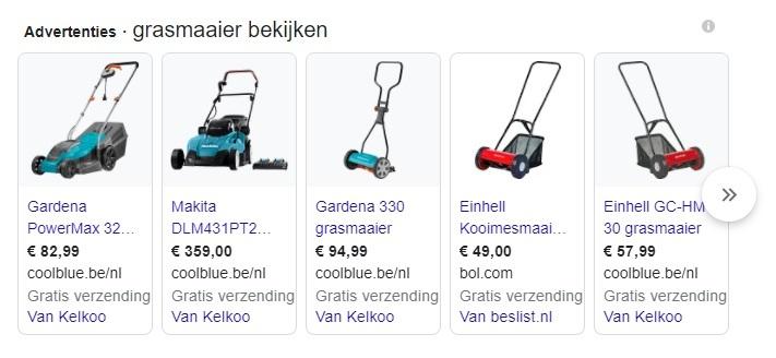 Google shopping betaalde SEA resultaten
