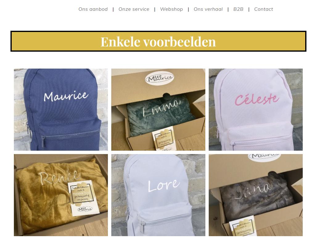 Meet Maurice webshop voorbeelden