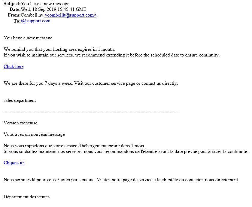 Voorbeeld phishing mail september 2019