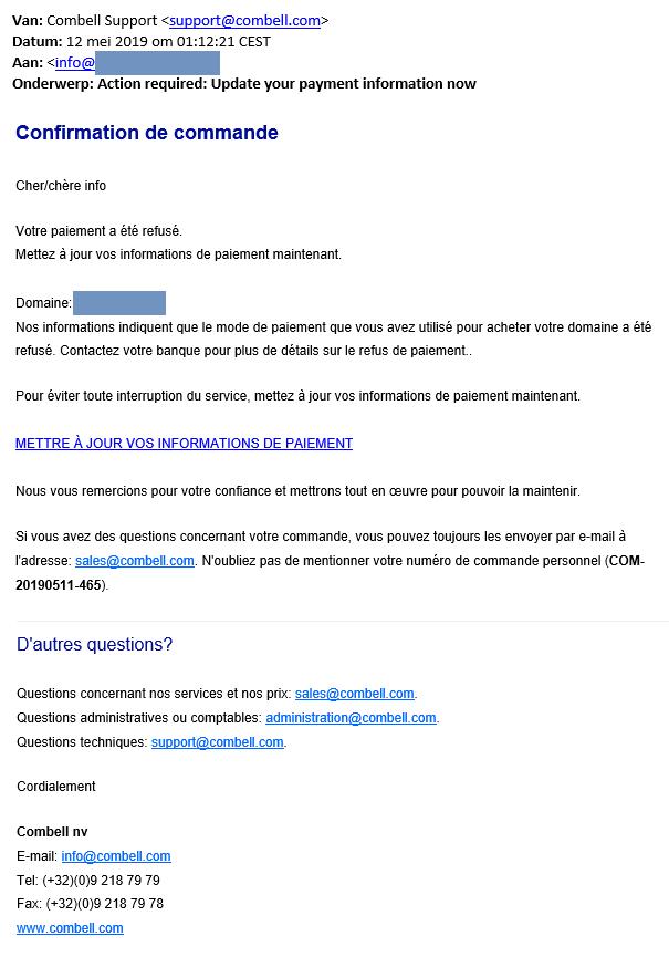 Voorbeeld phishing mail mei 2019