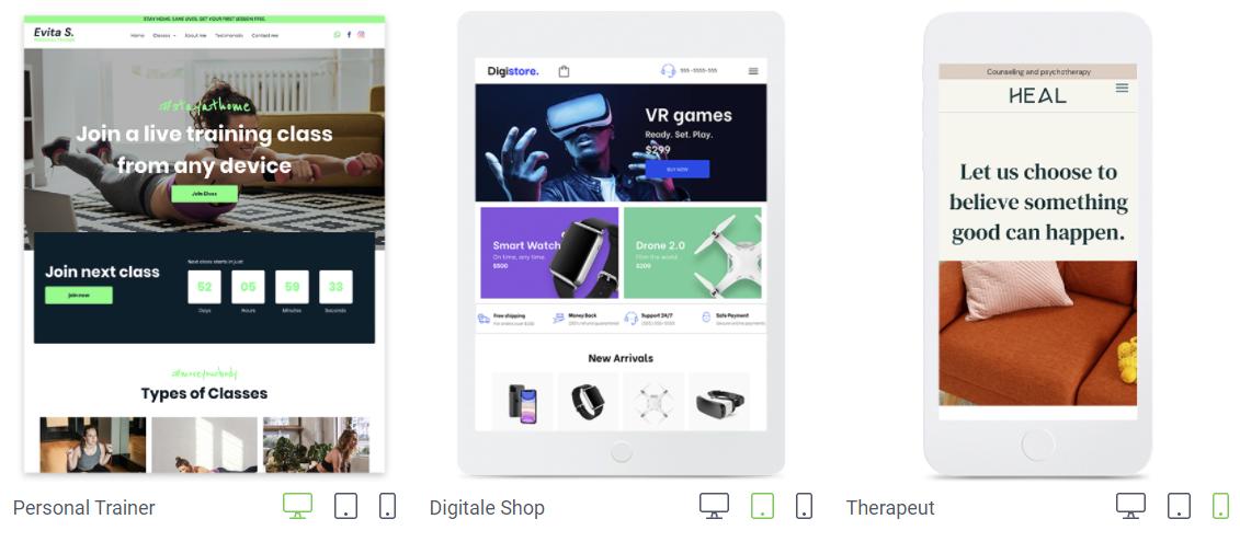 Responsief design SiteBuilder