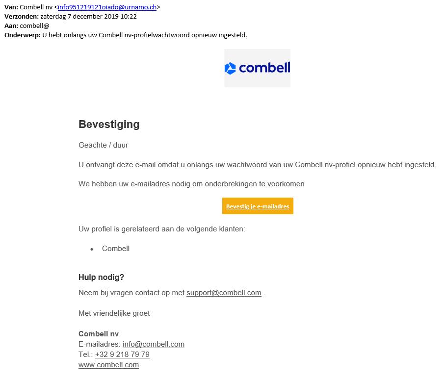 Voorbeeld phishing mail december 2019