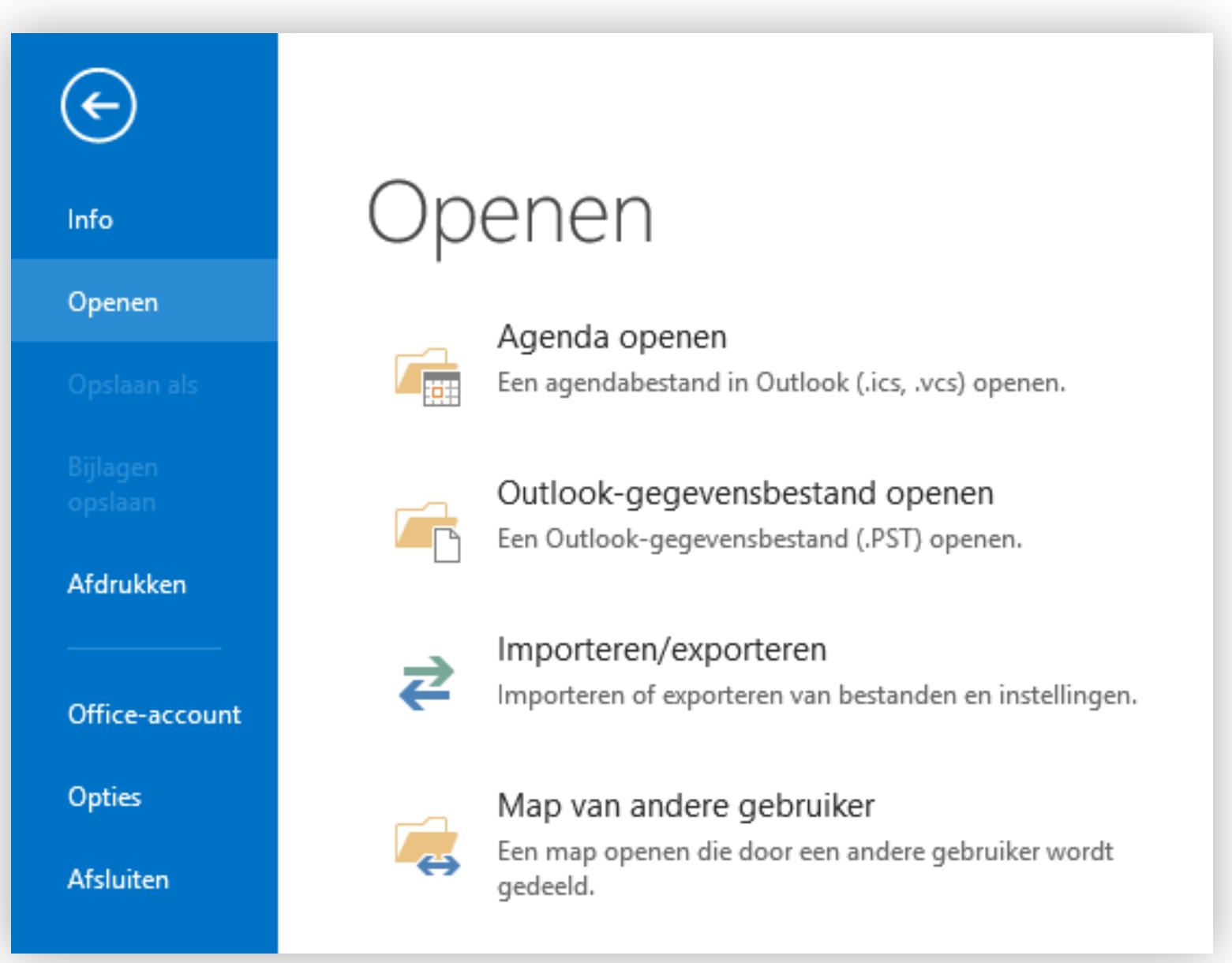 Open > Importeren/exporteren