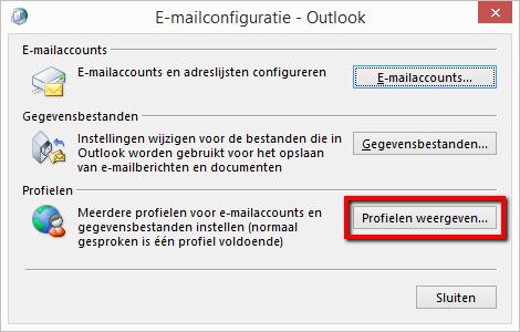 E-mailconfiguratie- Outlook >> Profielen weergeven
