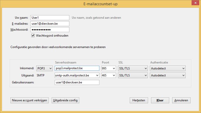 E-mailaccountset-up POP3 + SSL