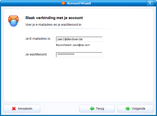 Account Wizard - account gegevens