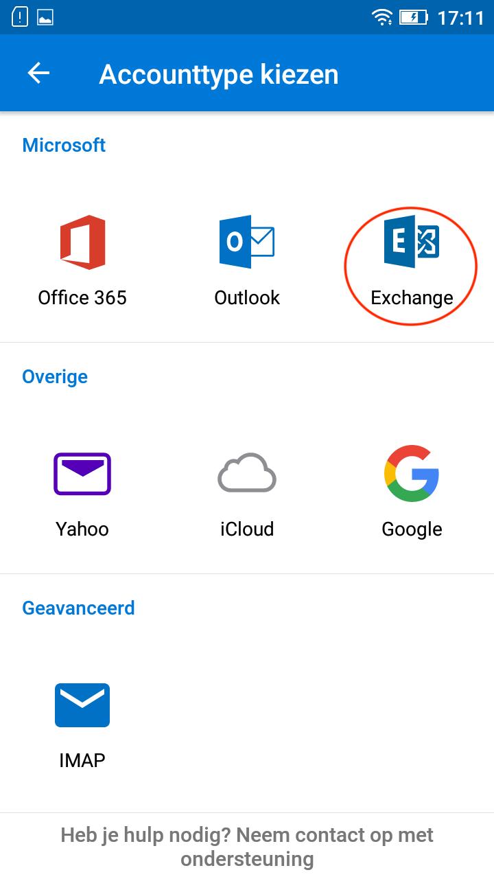 Accounttype kiezen > Exchange
