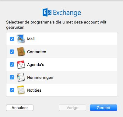 Kies de toepassingen die voor u door de Mail App beheerd mogen worden