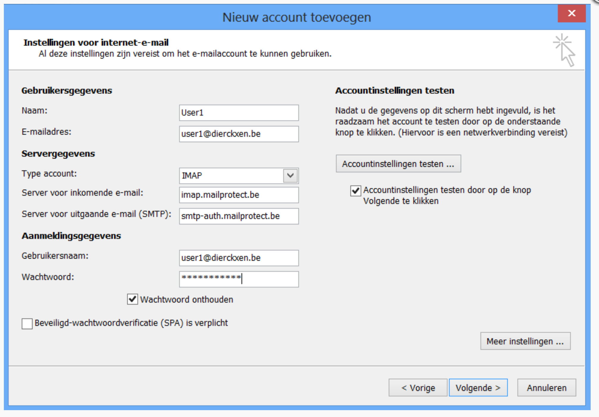 Kies voor IMAP of POP3 in het uitklapmenu en vul de ontbrekende gegevens in