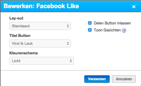 Bewerken Facebook Like