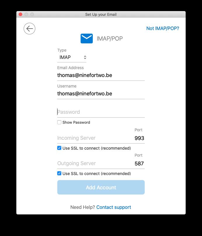 Kies IMAP of POP en vul gegevens in