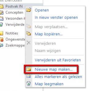 'Postvak IN' > rechter muisklik > 'Nieuwe map maken'