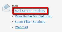 Mail > Instellingen Mailserver