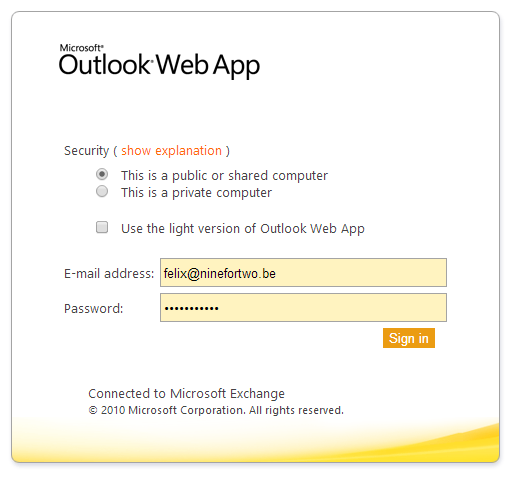 Log in Outlook Web App