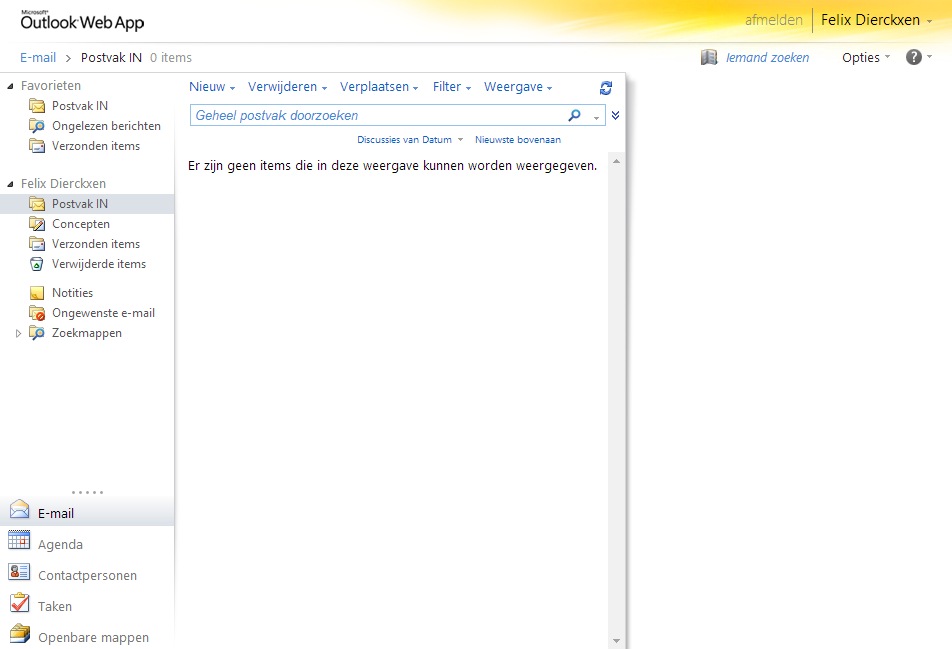 Overzicht Outlook Web App