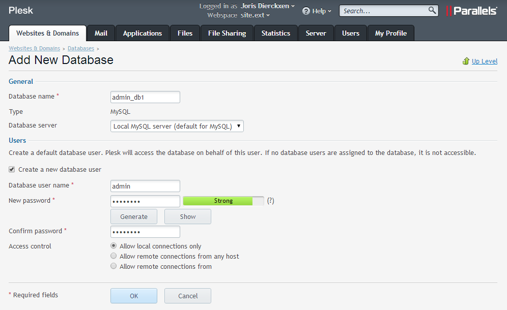 Nieuwe database toevoegen