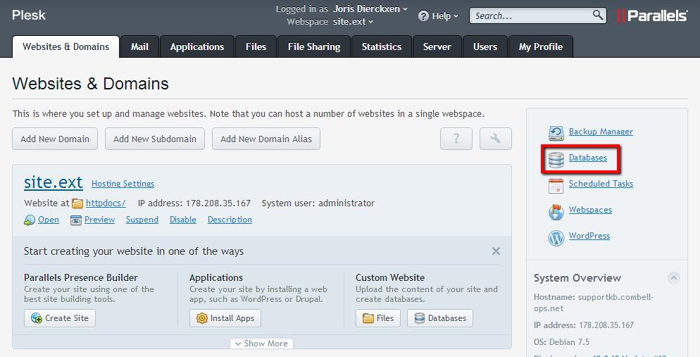 Websites & domeinen > Databases