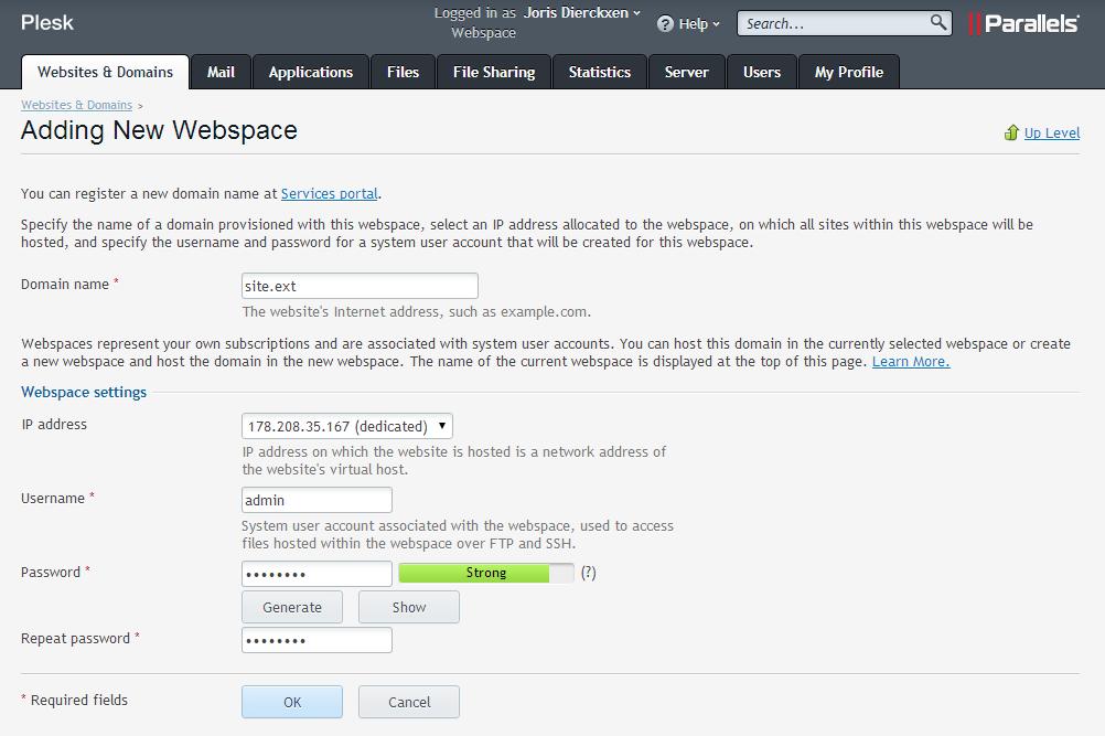 Formulier nieuwe webruimte